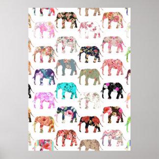 Flickaktigt nyckfullt Retro blom- elefantmönster Poster