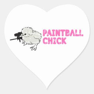 Flickaktigt Paintball Hjärtformat Klistermärke
