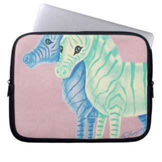 Flickaktigt pastellfärgad zebror med blåttrandar laptop datorskydd