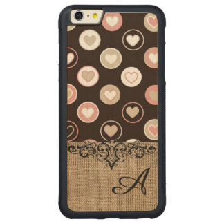 Flickaktigt polka dots och Burlapmönster med Carved Lönn iPhone 6 Plus Bumper Skal