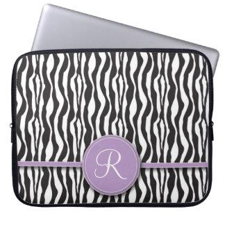 Flickaktigt purpurfärgad Monogramzebra trycklaptop Laptopfodral