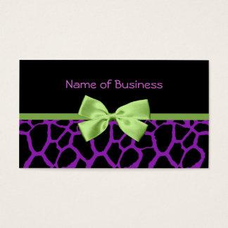 Flickaktigt purpurfärgat girafftryck med det visitkort