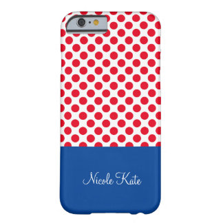 Flickaktigt röd blåttpolka dotsMonogram Barely There iPhone 6 Skal