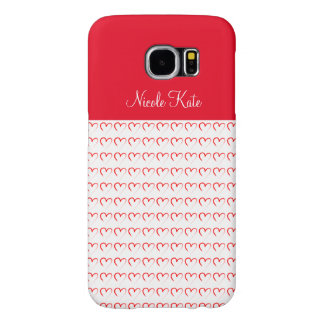 Flickaktigt röd kärlekMonogram Samsung Galaxy S6 Fodral