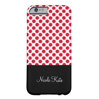 Flickaktigt röd polka dotsMonogram Barely There iPhone 6 Fodral