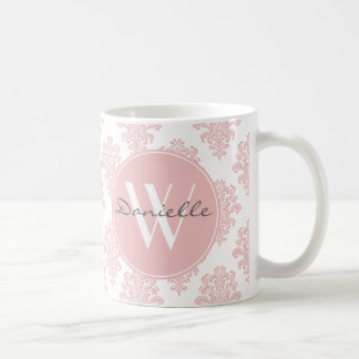 Flickaktigt rosa damastast Monogram Kaffemugg