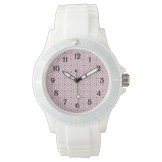 Flickaktigt rosa geometriska diamanter armbandsur