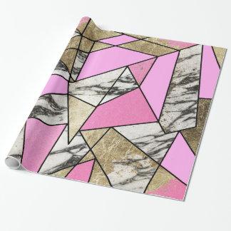 Flickaktigt rosa geometriskt guld och modern presentpapper