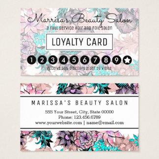Flickaktigt rosa guld- blom- lojalitetstansmaskin visitkort