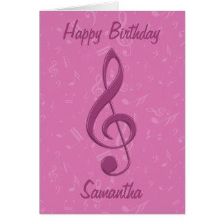 Flickaktigt rosa klav- och musik noterfödelsedag hälsningskort
