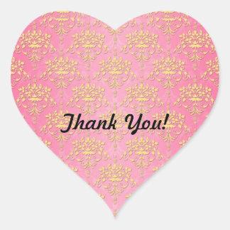 Flickaktigt rosa- och gultdamast hjärtformat klistermärke