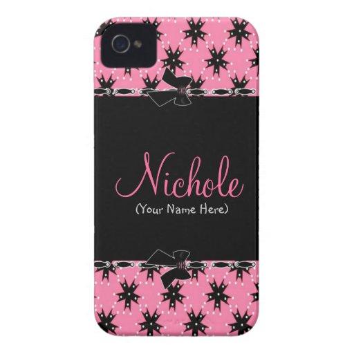 Flickaktigt rosa och svart blommigt iPhone 4 Case-Mate skydd