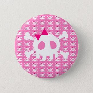 Flickaktigt rosa Punk skalle Standard Knapp Rund 5.7 Cm