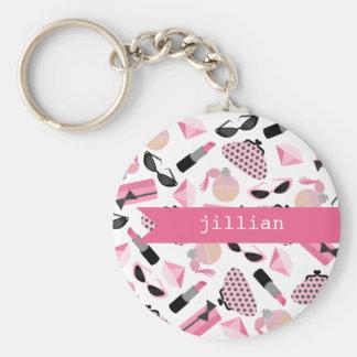 Flickaktigt rosa tillbehörpersonlig Keychain Rund Nyckelring