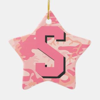 Flickaktigt stjärna för Monogram för Camo Julgransprydnad Keramik