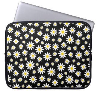 Flickaktigt svart för blommönster för laptop sleeve
