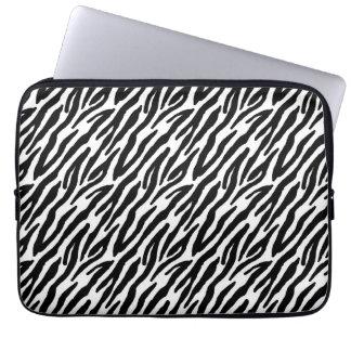 Flickaktigt svart zebra rändermönster för roligt laptopskydd