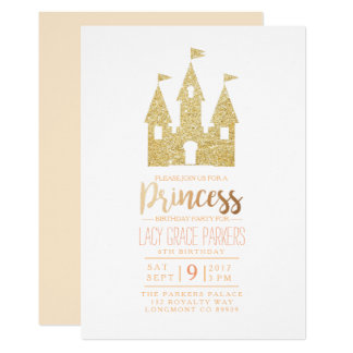 Flickaktigt Themed party för Princess Födelsedag | 12,7 X 17,8 Cm Inbjudningskort
