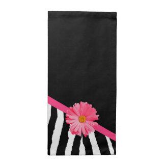 Flickaktigt zebra mönstrad gullig rosa daisy med tygservett