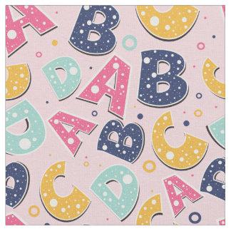 Flickamarin och rosa ABC-alfabetmönster Tyg
