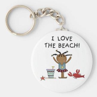Flickan älskar jag stranden rund nyckelring