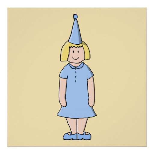 Flickan i en blek - slösa födelsedagsfestoutfit.en posters
