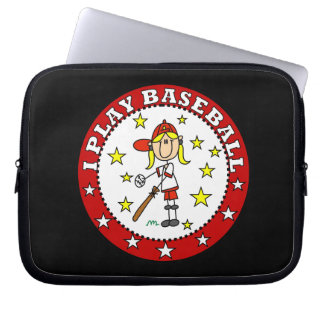 Flickan leker jag skjortor och gåvor för baseball laptop sleeve