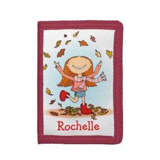 Flickan med röda kängor som leker i löv, namnger