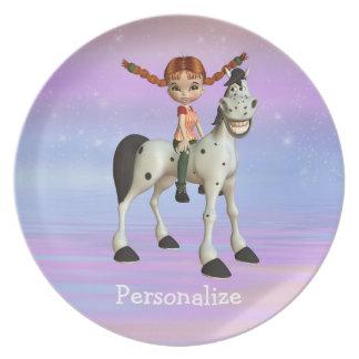 Flickan på Magical fantasipersonlig för ponny Tallrik