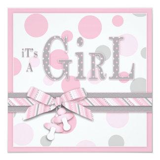 FLICKArosagrått pricker baby shower Fyrkantigt 13,3 Cm Inbjudningskort