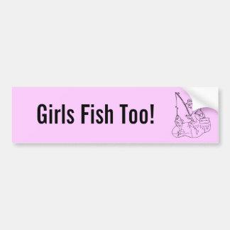 Flickor fiskar för! bildekal