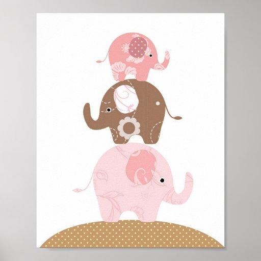 Flickor för barnkammareelefantkonst affischer