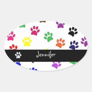 Flickor för hund för tasstryckhusdjur namnger ovalt klistermärke