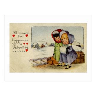 Flickor för vintagevalentinkort som två väntar tåg vykort