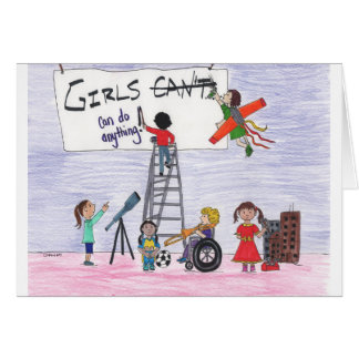 Flickor kan göra något! hälsningskort