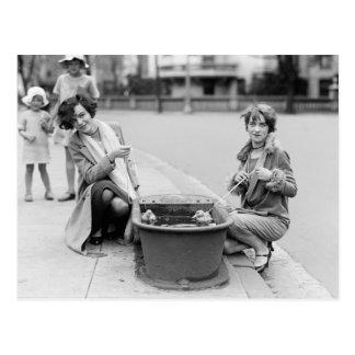 Flickor med älsklings- Ducklings, 1927 Vykort