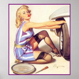 Flickor och bilar poster