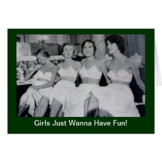 Flickor önskar precis att ha roligt - hälsningskort