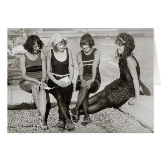 Flickor på den Atlantic City stranden, 1922 Hälsningskort