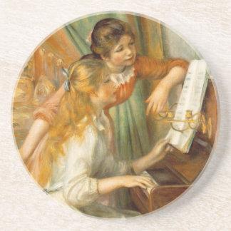 Flickor på pianokustfartyget underlägg sandsten