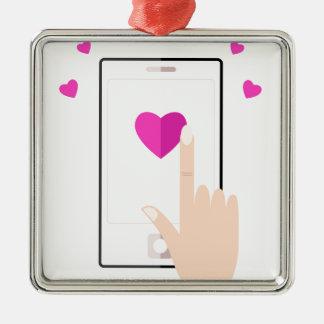 Flickor räcker med mobil och kärlek julgransprydnad metall