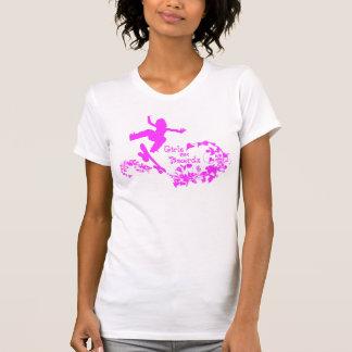 Flickor stiger ombord på, skridskon t shirts