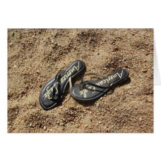 Flinflip flops i sanden hälsningskort