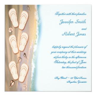 Flinflip flops på strandbröllopinbjudan fyrkantigt 13,3 cm inbjudningskort