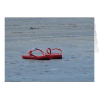 Flinflip flops på stranden hälsningskort