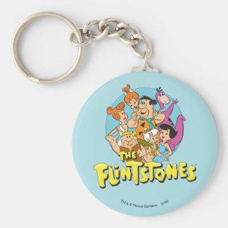 Flintstonesna och den grafiska spillrorfamiljen rund nyckelring