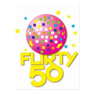 FLIRTY 50 femtio födelsedag gåvagåva Vykort