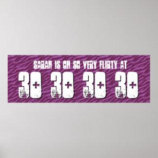 Flirty Grunge Z60F för 30års födelsedagpartybaner Poster