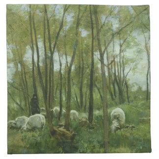 Flock av får i en skog, Anton Mauve Tygservett