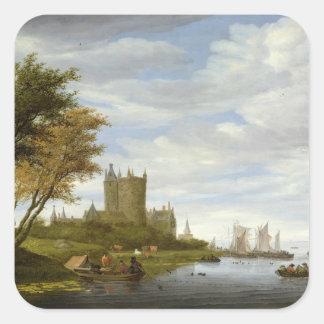 Flodbred flodmynning med ett slott fyrkantigt klistermärke